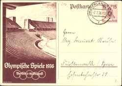 Ganzsachen Ak Olympische Spiele 1936, 1 bis 16 August