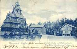 Postcard Bygdo Norwegen, Die Gols Kirche und Nebengebäude, Kirke, Staburet
