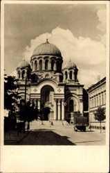 Postcard Kaunas Kowno Kauen Litauen, Blick auf die Garnison Kirche, Laster