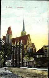 Postcard Wrocław Breslau Schlesien, Straßenpartie mit Blick auf die Kreuzkirche