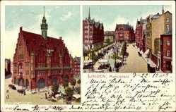 Postcard Hannover Linden in Niedersachsen, Neues Rathaus, Marktplatz
