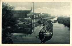 Postcard Wittenberge in der Prignitz, Singer Nähmaschinen, Blick vom Singerhafen