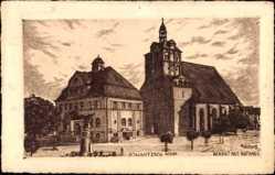 Künstler Ak Hildebrandt, Dommitsch an der Elbe, Markt mit Rathaus, Denkmal