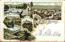 Litho Herzberg am Harz in Niedersachsen, Lonauer Hammerhütte, Schloss, Sieber