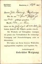 Vorläufer Ak Bautzen Lausitz, Gebrüder Weigang, Zahlungseingang, 1893