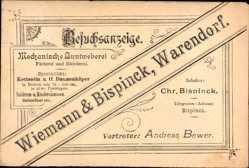Postcard Warendorf in Nordrhein Westfalen, Wiemann und Bispinck, Besuchsanzeige