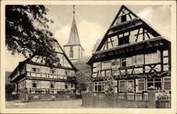 Postcard Kork Kehl am Rhein Ortenaukreis Baden Württemberg, Kirche, Fachwerkhäuser