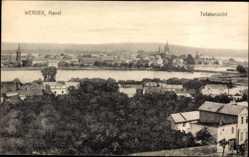 Postcard Werder an der Havel, Totalansicht der Ortschaft, Fluss, Kirche