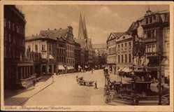 Postcard Lübeck in Schleswig Holstein, Klingenberg mit Sandstraße, Fuhrwerk