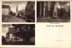 Postcard Steinbach Külsheim in Tauberfranken, Kriegerdenkmal, Schule, Hauptstraße