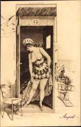 Künstler Ak August, Junge Frau, Umkleidekabine, Beine, Badekleid