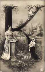Buchstaben Ak K, Frau und Kinder, Säule, Tempel, Teich, NPG 195