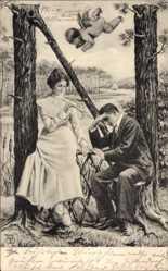 Buchstaben Ak N, Mann sitzend, Liebeskummer, Liebesengel