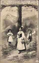 Buchstaben Ak T, Frauen in Trachten, Landschaft, NPG 195
