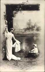 Buchstaben Ak G, Kyrillisch, Russisch, Frau mit Kind am Wasser