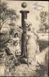 Buchstaben Ak I, Frau, Kinder, Brücke, Idyll, NPG 195