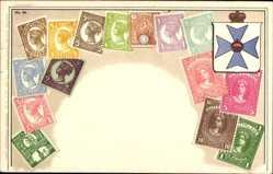 Briefmarken Litho Australien, Queensland, Pence, Penny, Shilling