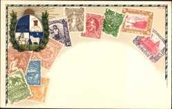 Briefmarken Litho Uruguay, Wappen, 1 Peso, 2 Pesos, 3 Pesos