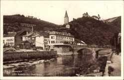 Postcard Vianden Luxemburg, Les Ruines du Château, Schloss, Fluss, Brücke