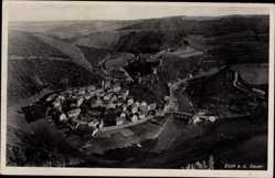 Postcard Esch Sauer Luxemburg, Blick auf den Ort, Felder, Fliegeraufnahme