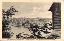 Ak Subat Kurland Ostpreußen, Blick von der evangelischen Kirche auf den Ort