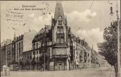 Postcard Thionville Diedenhofen Lothringen Moselle, Park und Kaiser Karl Straße