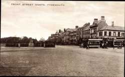 Postcard Tynemouth North East, Front Street North, Straßenbahn, Denkmal