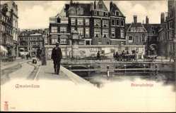 Postcard Amsterdam Nordholland Niederlande, Beurspleintje, Promenade am Wasser