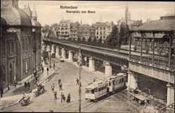 Postcard Rotterdam Südholland Niederlande, Beursplein met Beurs, Bahnhof, Straßenbahn