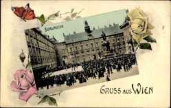 Passepartout Ak Wien, Burgmusik, Militärorchester, Denkmal