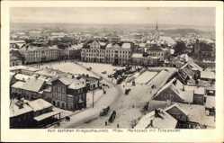 Postcard Jelgava Mitau Lettland, Marktplatz mit Totalansicht, Winter