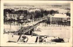 Postcard Jelgava Mitau Lettland, Blick auf das Schloss, Winter, Holzbrücke