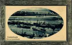 Präge Passepartout Ak Konstantinopel Istanbul Türkei, Port, Hafen, Dampfer