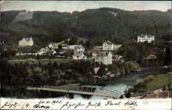 Postcard Gars am Kamp Niederösterreich, Blick auf den Ort, Fluss, Brücke