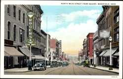 Postcard Mansfield Ohio USA, North Main street from Square