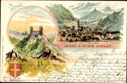 Wappen Litho Andlau Bas Rhin, Blick auf den Ort, Ruine, Berge