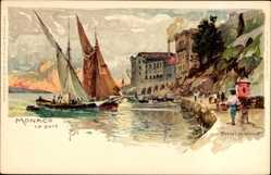 Künstler Litho Wielandt, Manuel, Monaco, Le Port, Hafenpartie, Segelboote