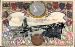 Briefmarken Präge Ak Noordwijk aan Zee Südholland, Strandpartie, Wappen