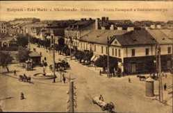 Postcard Białystok Ostpreußen, Ecke Markt und Nikolaistraße, Fuhrwerk, Brunnen