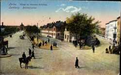 Postcard Lwów Lemberg Ukraine, Blick in die Bahnhofsallee, Reiter, Passanten