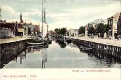 Postcard Raamsdonkveer Nordbrabant Niederlande, Kanalpartie, Segelboot, Häuser