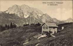 Postcard Mittenwald im Kreis Garmisch Partenkirchen, Hoher Kranzberg mit Wetterstein