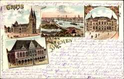 Litho Bremen, Blick auf den Dom, das Rathaus und die Börse, Fluss