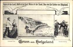 Postcard Helgoland in Schleswig Holstein, Nationaltanz, Heiratsantrag, Totalansicht