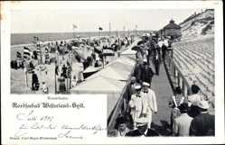 Postcard Westerland auf Sylt, Nordseebad, Promenade, Strand, Wandelbahn