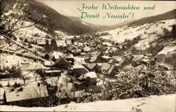 Postcard Oberschöna Thüringer Wald, Verschneiter Ort mit Ruppberg