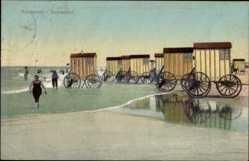 Postcard Norderney in Ostfriesland, Strandpartie am Damenbad, Wägen