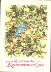 Landkarten Ak Malchin in Mecklenburg Vorpommern, Kummerower See, Dargun,Glasow