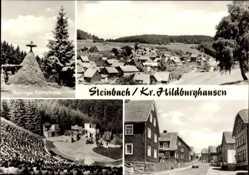 Postcard Steinbach Schleusegrund, Thüringer Köhlerhütte, Naturtheater, Totale