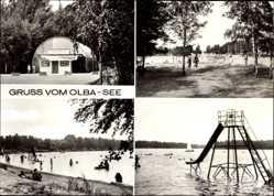 Postcard Kleinsaubernitz Malschwitz, Erholungszentrum Olba See, Wasserrutsche, Kino